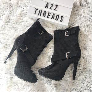 Juicy Couture Fabia Black Suede Peep Toe Boots